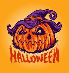 freaky halloween pumpkin vector image
