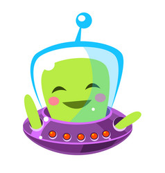 Funny smiley alien cute cartoon monster colorful vector