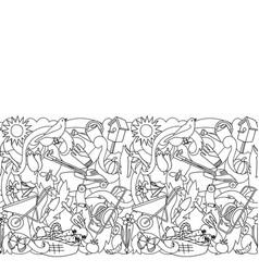 garden coloring seamless border vector image