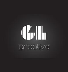 gl g l letter logo design with white and black vector image