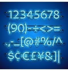 Glowing Neon Blue Numbers vector image