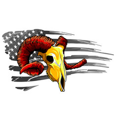 goat head with america flag vector image