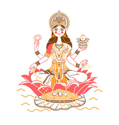 Godess laxmi icon vector