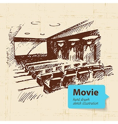 Hand drawn movie Sketch background vector