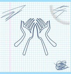 hands line sketch icon isolated on white vector image