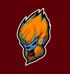Head monkey kong for esport logo template vector