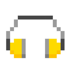 hearing protection headphones pixel art cartoon vector image