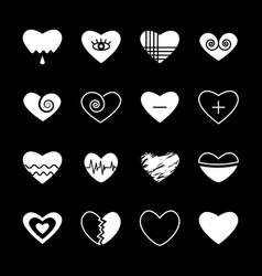 heart silhouette shape contour stencil vector image