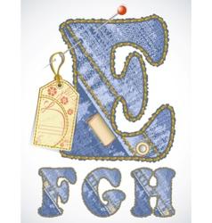 jeans alphabet vector image vector image