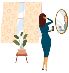 Lady with smartphone is making self portrait girl vector