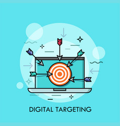 laptop with shooting target with arrows on screen vector image