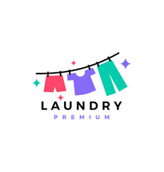 Laundry drying clothes logo icon vector