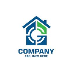 Letter g target house logo vector