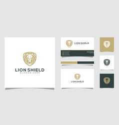 Lion shield animal logo design and business card vector