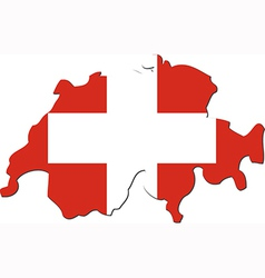Map of Switzerland with national flag vector image