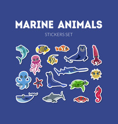 marine animals stickers set cute underwater sea vector image