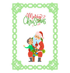 merry christmas postcard with santa claus and boy vector image