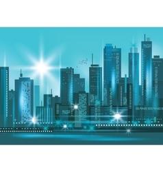 Modern night city skyline at night vector