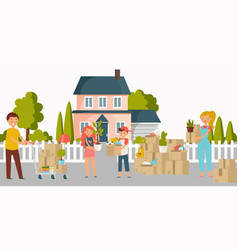 moving new home house or appartment people with vector image