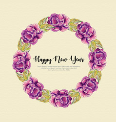 New year watercolor floral wreath vector