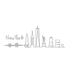 new york one line drawing new york in vector image