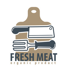 Organic meat product logotype with cutleries and vector