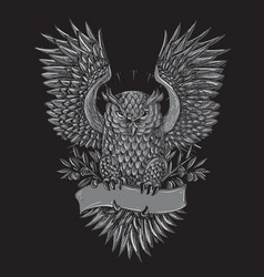 owl tattoo grey vector image