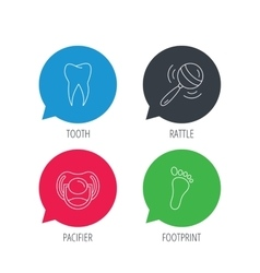 Pacifier footprint and dental tooth icons vector