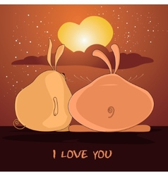 Pair of lovers rabbits vector