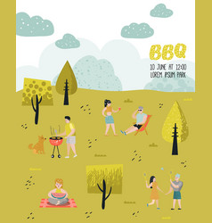 Park landscape with active people on bbq party vector