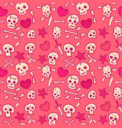 pattern with skulls and hearts bones and daggers vector image