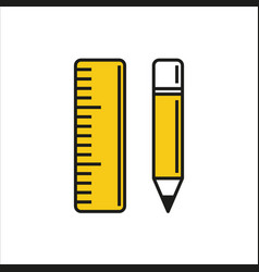 pencil and ruler icon on white background vector image