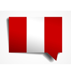Peru flag paper 3d realistic speech bubble on vector
