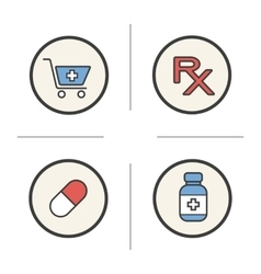 Pharmacy color icons set vector