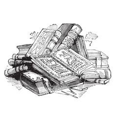 Pile books volume vintage engraving vector
