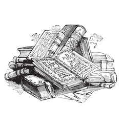 Pile of books volume vintage engraving vector