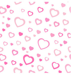 pink pattern with hearts chaotic pattern hearts vector image