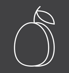 Plum line icon fruit and diet graphics vector