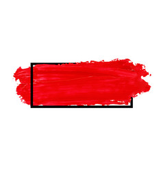 Red brush stroke banner isolated on white vector