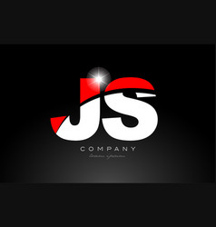Red white color letter combination js j s vector