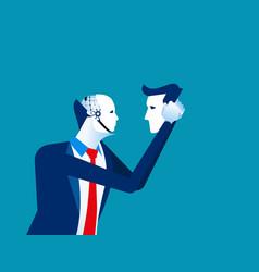 Robot in businessmen head concept business vector