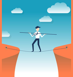 Rope walker risk flat design vector