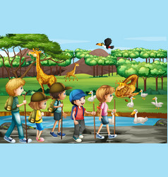 scene with animals and kids at open zoo vector image
