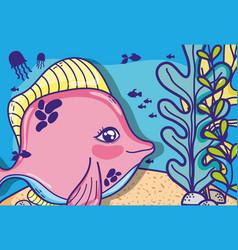 sea animals cartoons vector image