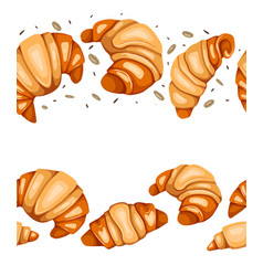 seamless border with cartoon croissants nuts and vector image