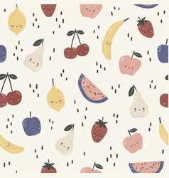 seamless pattern with cute different fruits vector image