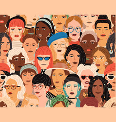 Seamless pattern with diverse female faces crowd vector