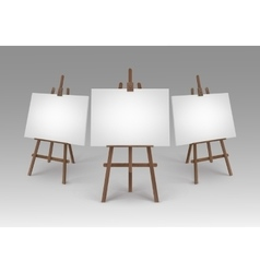 Set of brown wooden easels with blank canvases vector