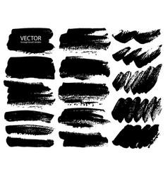 set of brush strokes black ink grunge vector image