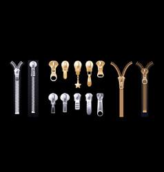 Silver golden zippers realistic pulls metal vector